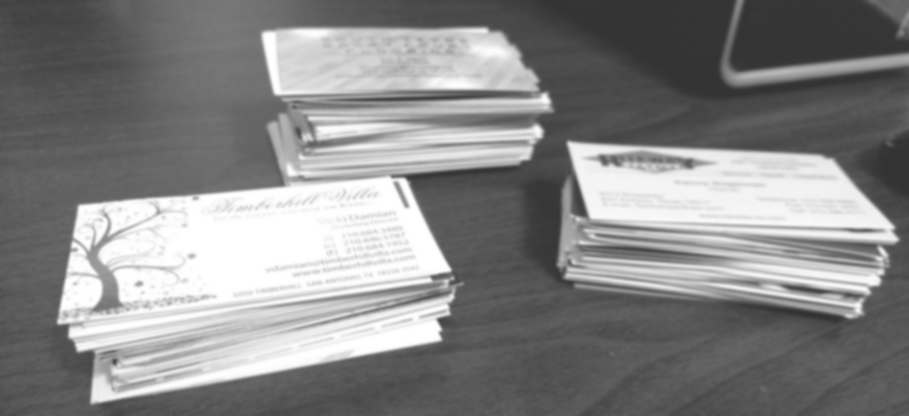 Business cards in stacks